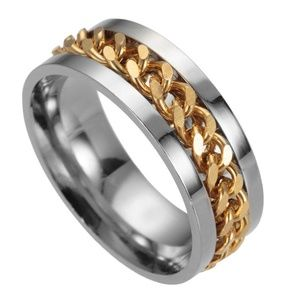 Jewelry - Gold Chain Cuff Link Silver Ring